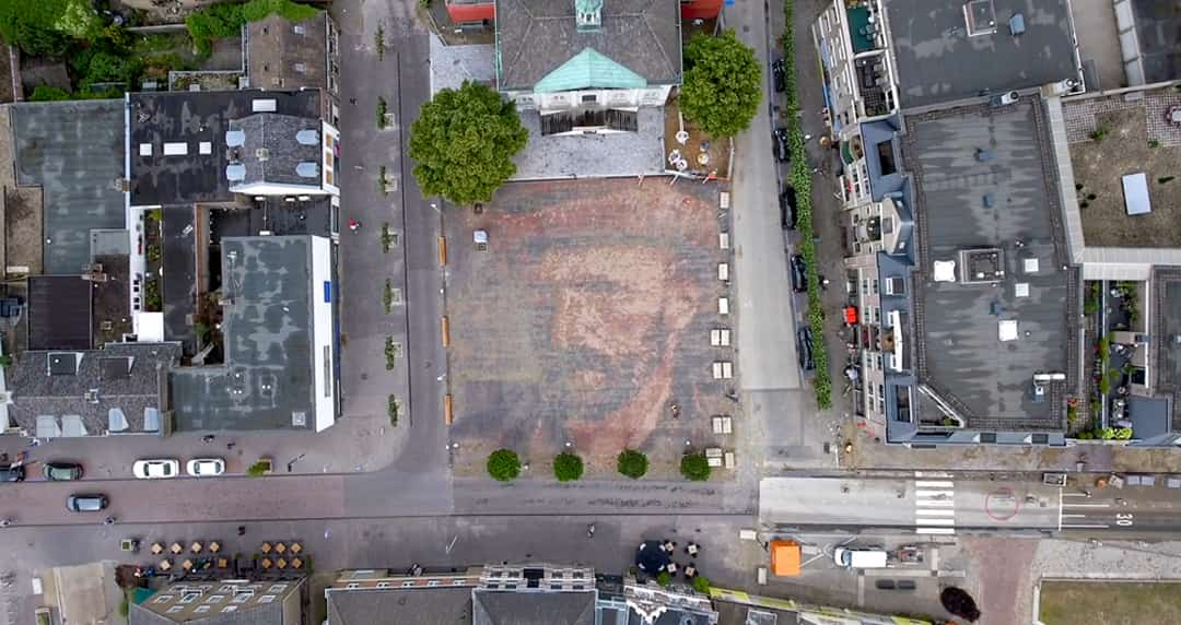 Van Goghplein, a plaza displaying a portrait of Vincent Van Gogh made of interlocking bricks.