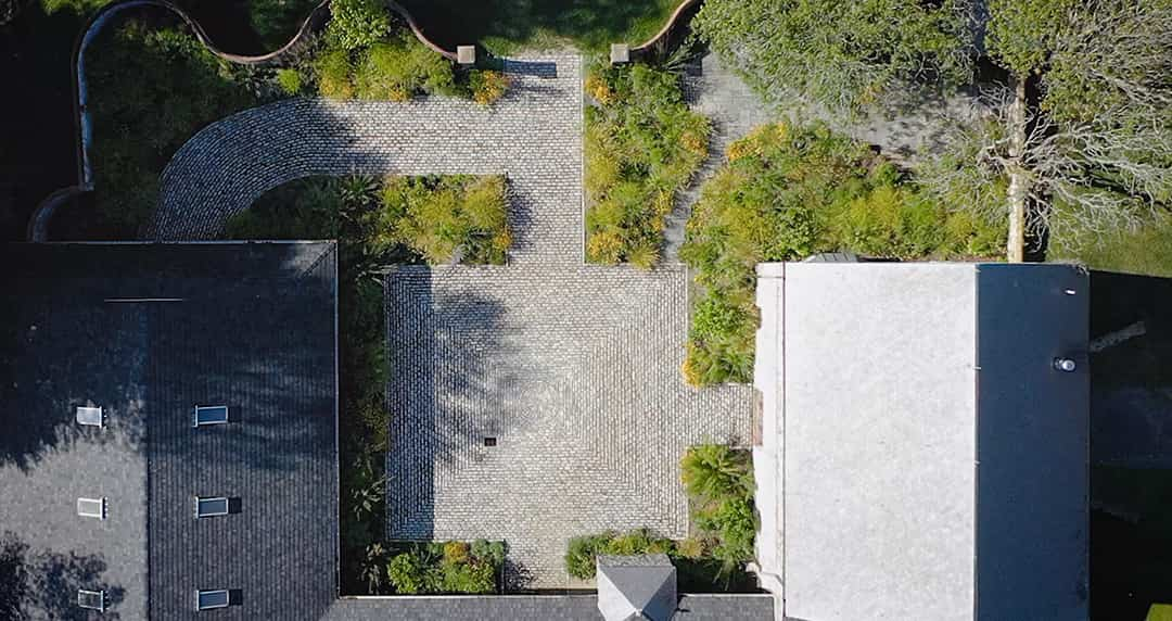 Aerial view of landscape design project Greenville Estates