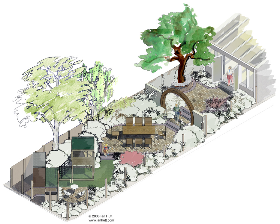 Hand Rendered Rooftop Garden Landscape Architecture Illustrative Plans