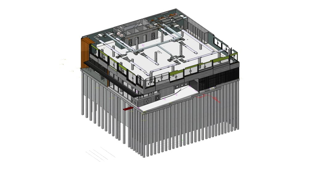 IFC model showing architectural, structural, and mechanical elements of the building