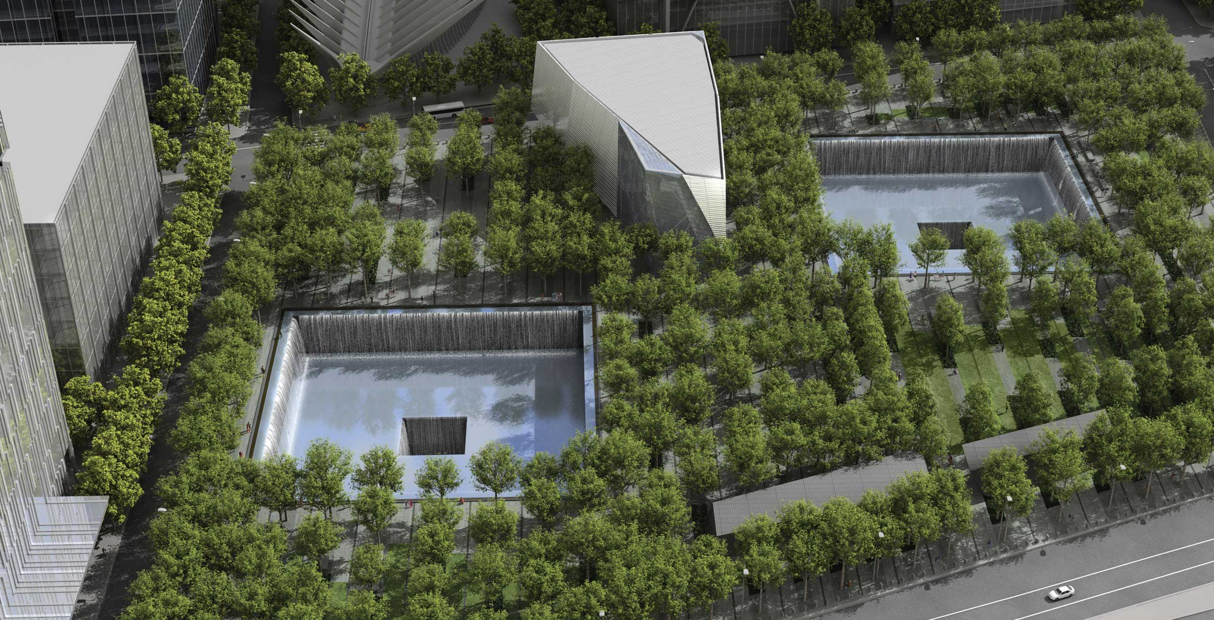 aerial rendering of September 11th memorial