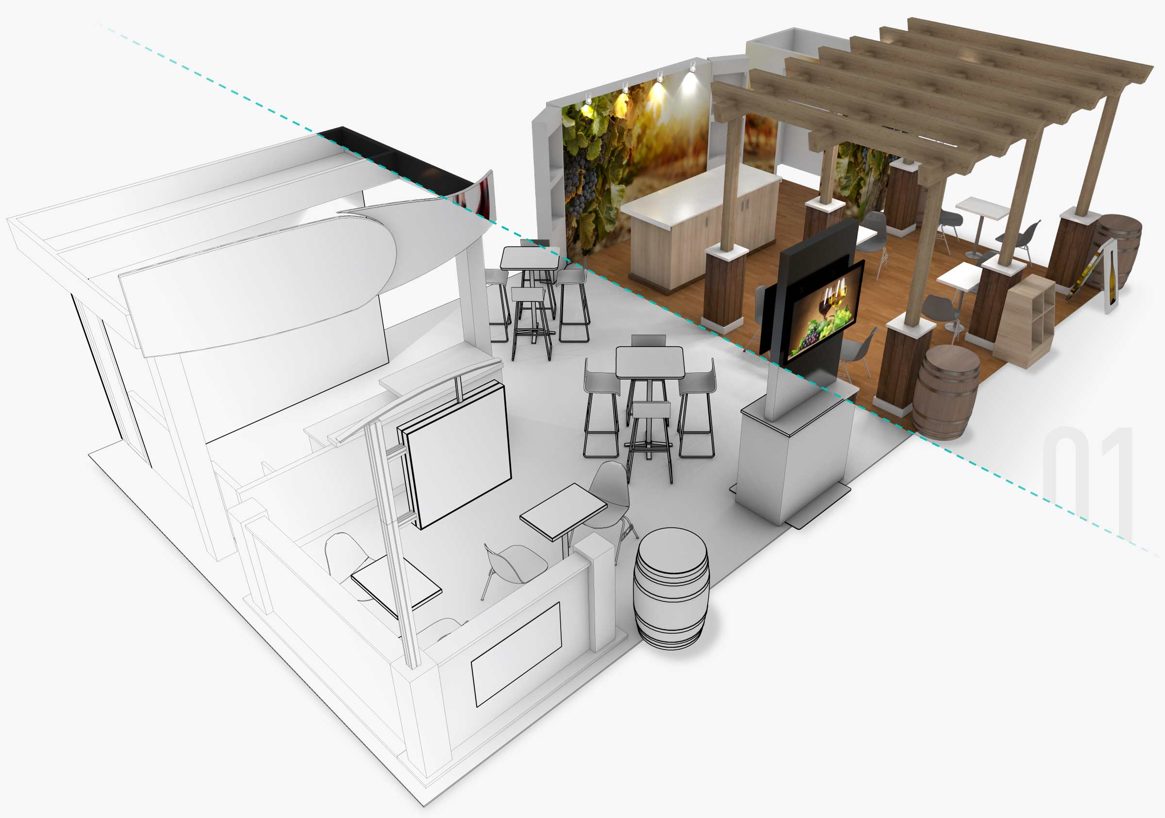 Sketch/model and rendering of trade show booth
